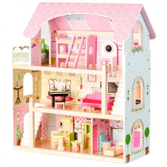 Drewniany domek dla lalek – Rezydencja Bajkowa