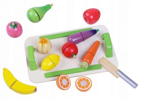 Drewniane warzywa i owoce zestaw do krojenia