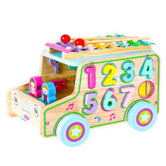 Drewniany samochód sorter klocki cyfry + cymbałki