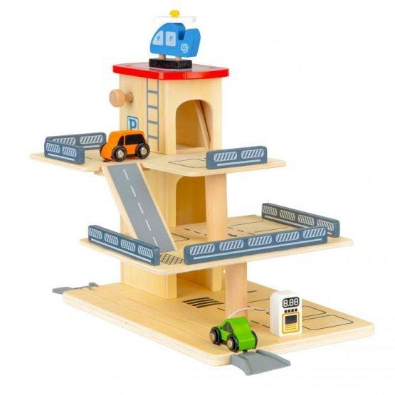 Drewniany tor garaż zabawka parking z windą + autka
