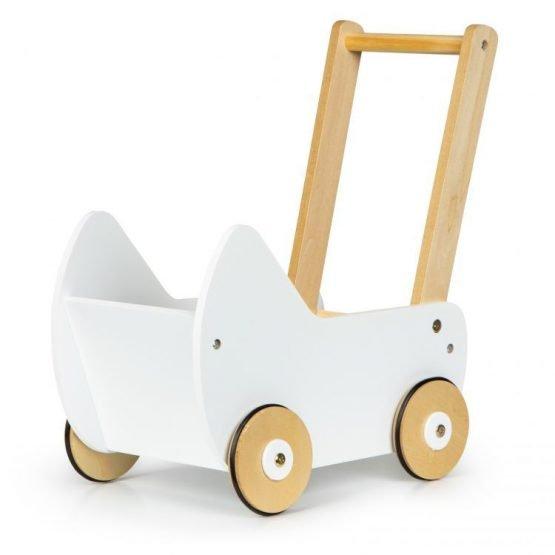 Drewniany wózek dla lalek pchacz chodzik