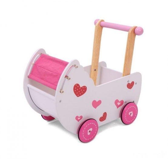 Wózek dla lalek drewniany z pościelą
