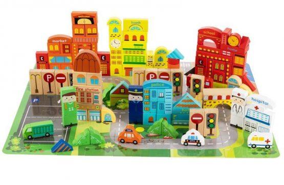 Drewniane klocki edukacyjne miasto z matą puzzle 196 elementów
