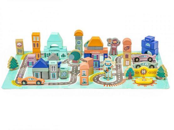 Drewniane klocki z matą puzzle miasto tor 161el.