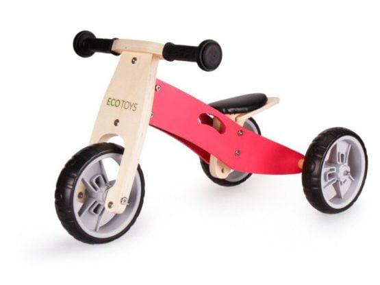 Rowerek biegowy trójkołowy drewniany 2w1