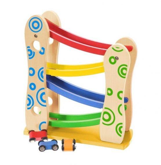 Drewniany tor zjeżdżalnia + 3 autka zabawki