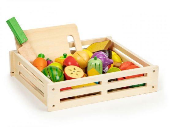 Drewniane warzywa i owoce jedzenie do krojenia 20 szt + skrzynka