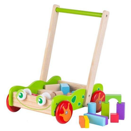 Drewniany wózek pchacz z klockami drewnianymi