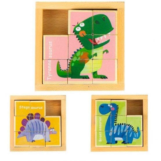 Drewniane klocki puzzle edukacyjne układanka
