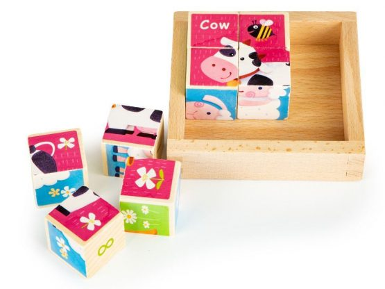 Drewniane klocki puzzle edukacyjne układanka zoo
