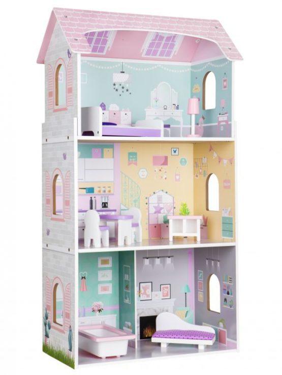 Drewniany wysoki domek dla lalek – Rezydencja Jagodowa