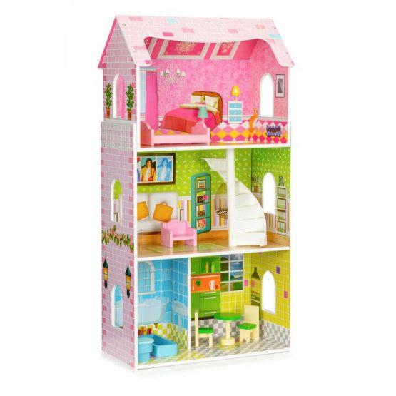 Wysoki drewniany domek dla lalek + mebelki