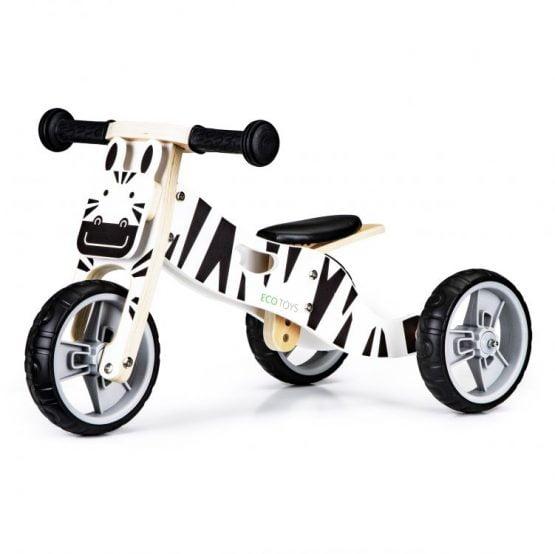 Drewniany rowerek rower trójkołowy 2w1 balansowy – ZEBRA