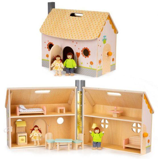 Drewniany otwierany domek dla lalek meble