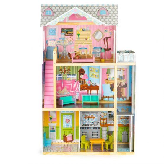 Drewniany domek dla lalek z windą + meble